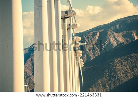 Wind Turbines and the Mountains. California Wind Energy Plant Closeup. - stock photo
