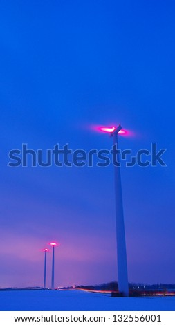 wind turbines at a wind farm in Germany - stock photo