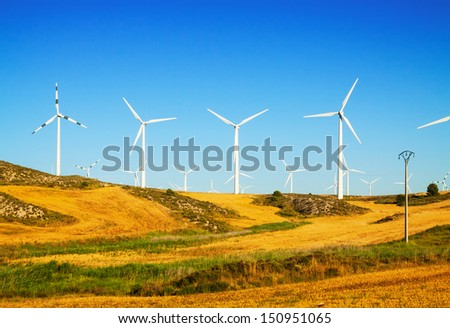 Wind Turbines at farmland. Aragon, Spain - stock photo