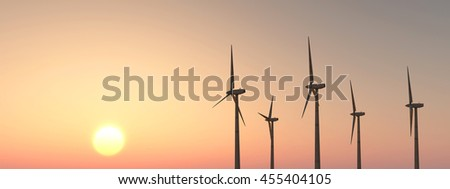 Wind turbines at sunset Computer generated 3D illustration - stock photo