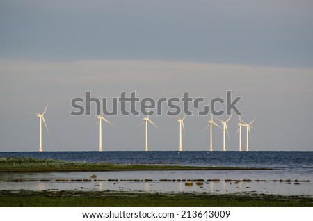 Wind turbines at the coast by the swedish island Oland in the Baltic Sea
