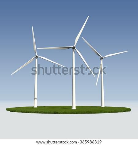 Wind turbines - 3D model rendering - stock photo