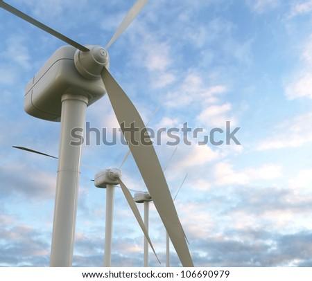 wind turbines 3D render - stock photo