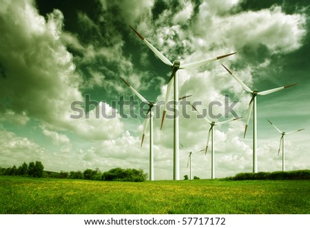 Wind turbines, ecology - stock photo