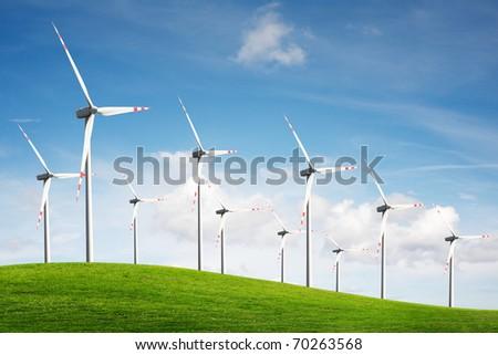 Wind turbines. Energy. - stock photo