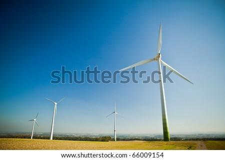 Wind turbines - energy source - stock photo