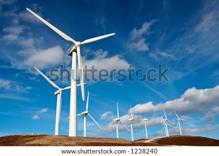 Wind turbines farm - stock photo