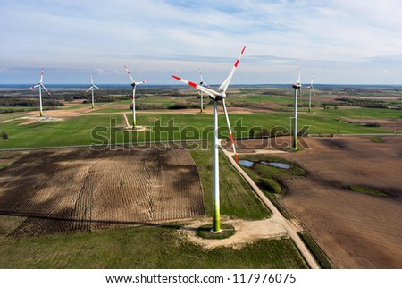 Wind turbines farm, aerial view - stock photo