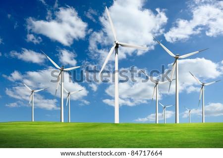 Wind turbines farm, alternative energy - stock photo