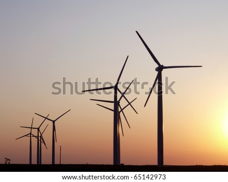 Wind turbines farm. Alternative energy source