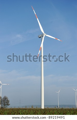 Wind turbines farm, electric propellers