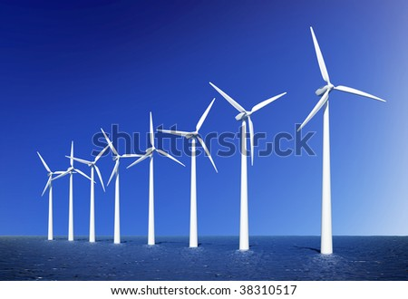 Wind turbines farm in sea near Denmark