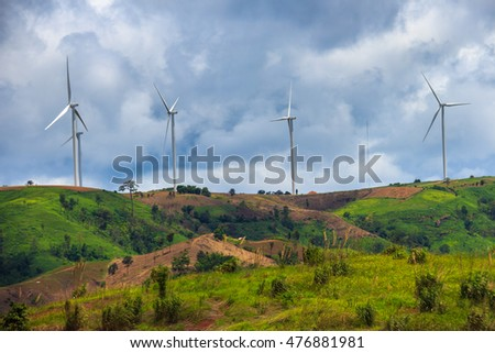 Wind-turbines farm in Thailand