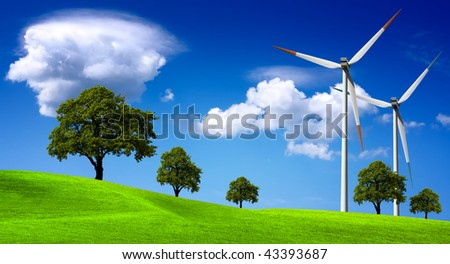 Wind turbines farm on the hills - stock photo