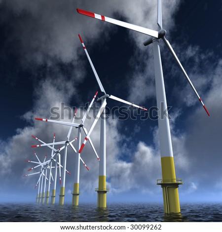 Wind turbines farm on the sea - stock photo