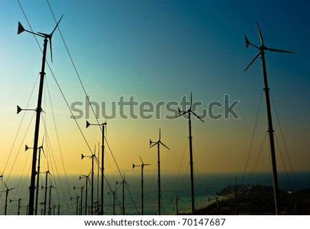 Wind turbines farm with a sunset,Pattaya Thailand