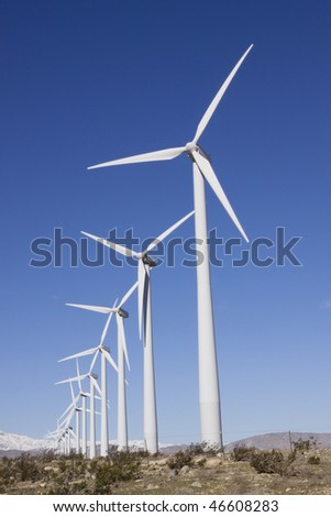 Wind turbines generating clean energy - stock photo