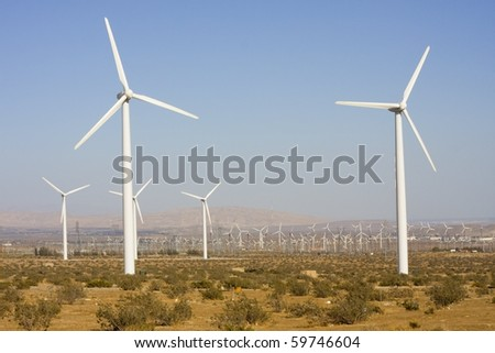 Wind turbines generating electricity in Palm Springs area - stock photo
