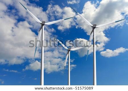 Wind turbines, global ecology - stock photo
