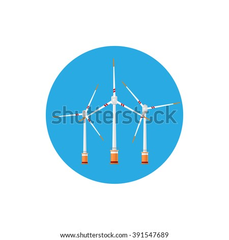 Wind Turbines Icon, Colorful Round Icon Horizontal Axis Wind Turbines ,  Offshore Wind Farm Icon - stock photo
