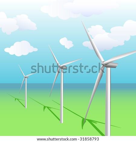 Wind turbines illustration - stock photo
