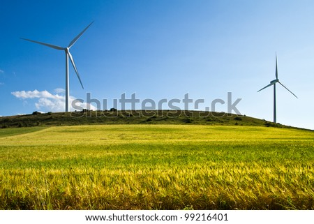 wind turbines in a field - stock photo