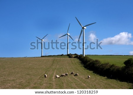 Wind Turbines in a field bear Cemaes Isle of Anglesey North Wales