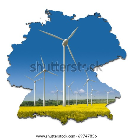 Wind turbines in a rapeseed field in an abstract map of Germany - stock photo