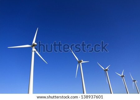 Wind Turbines in a row, Palm Springs, CA - stock photo