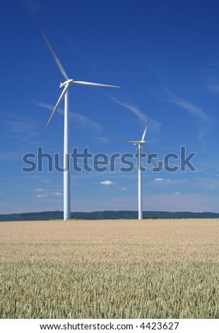 Wind turbines in a wheat field