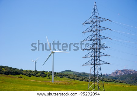 Wind turbines in Andalusia, Spain - stock photo