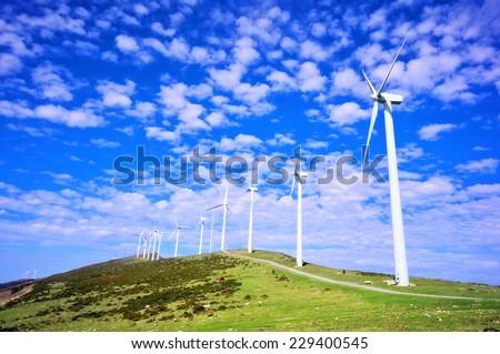 wind turbines in eolic park. Oiz - stock photo