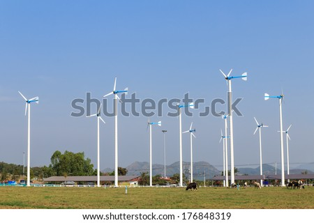 Wind turbines in farm with blue sky background-2