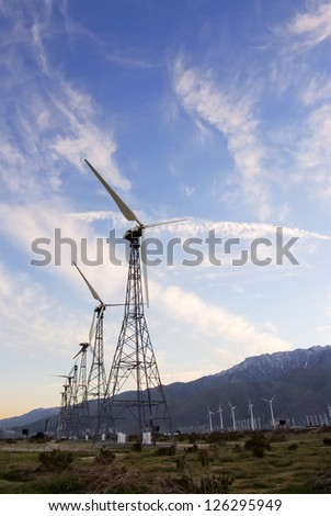 Wind turbines in Palm Springs, California.