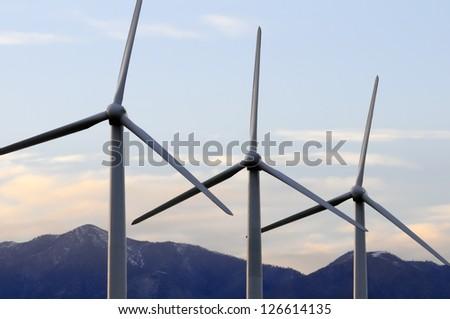 Wind turbines in Palm Springs, California. - stock photo