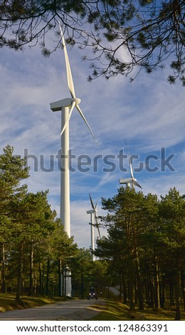 Wind Turbines in pine forest with quad motorcycle - stock photo