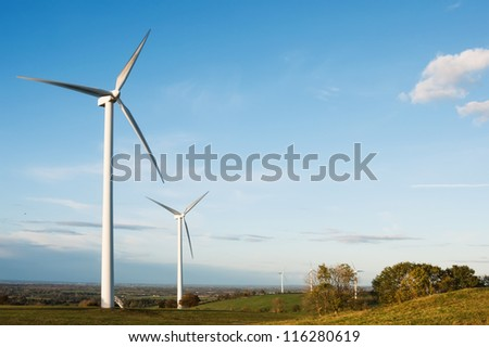 wind turbines in the autumn  field