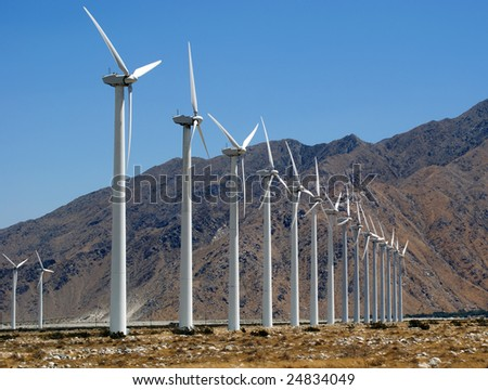 Wind Turbines in the California Desert, near Palm Springs. - stock photo