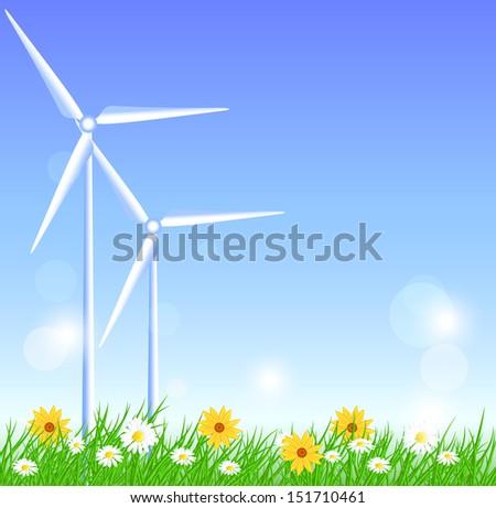 Wind turbines in the field - stock photo