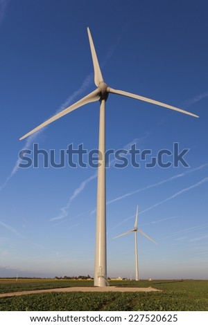 Wind turbines in the Loire Valley, Centre, France - stock photo