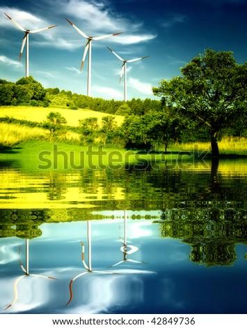 Wind turbines in the mountain. - stock photo