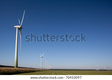 Wind turbines in the Netherlands - stock photo