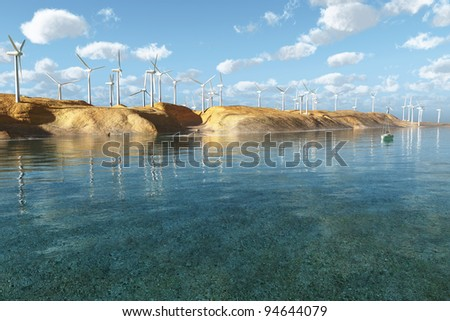 Wind Turbines in the seascape