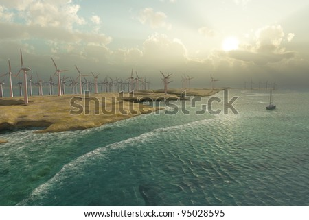 Wind Turbines in the seascape - stock photo
