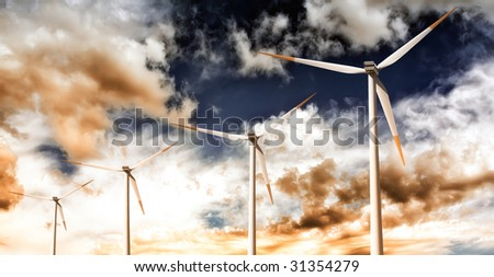 Wind Turbines in the Sky - stock photo
