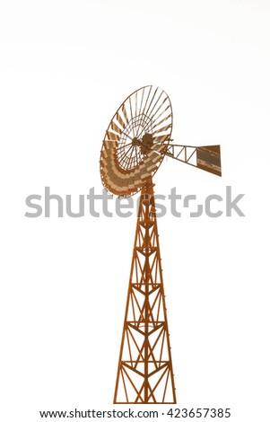 Wind turbines isolate on white background. - stock photo