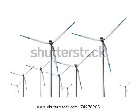 Wind turbines, isolated - stock photo