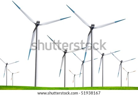 Wind turbines isolated on white background - stock photo
