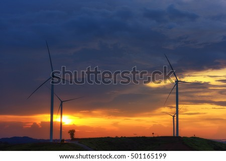 wind turbines Khao Kor, Phetchabun, in north-central Thailand with sunset