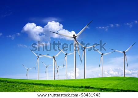 Wind turbines landscape - stock photo